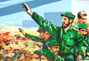 A mural of Fidel Castro