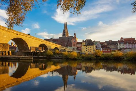 yellow bridge and coloured buildings, regensburg