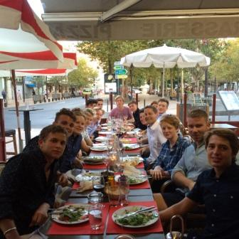 boys having lunch in restaurant