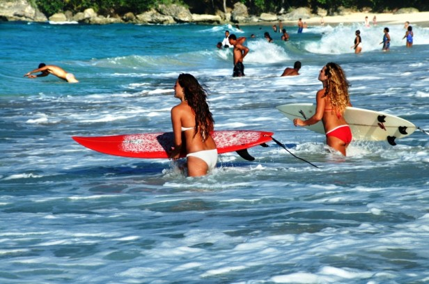 Girls surfing Dominican Republic
