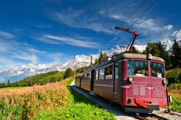 Chamonix mountain tram in alps valley