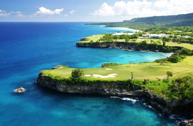 golf course next to sea
