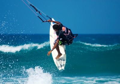 kite boarding off Cabarate beach