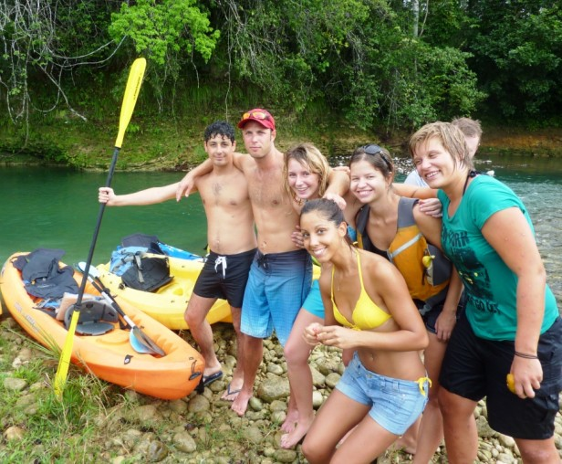group of people kayaking