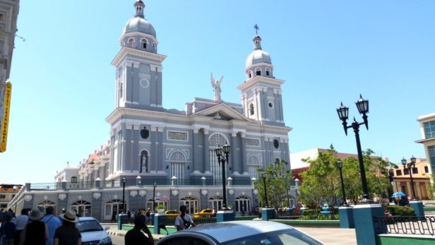 Large grey cathedral in central square in Santiago de Cuba