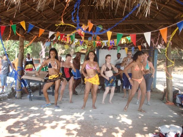 girls dancing at beach party