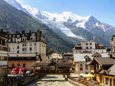 View of Chamonix town with Mont Blanc in the background