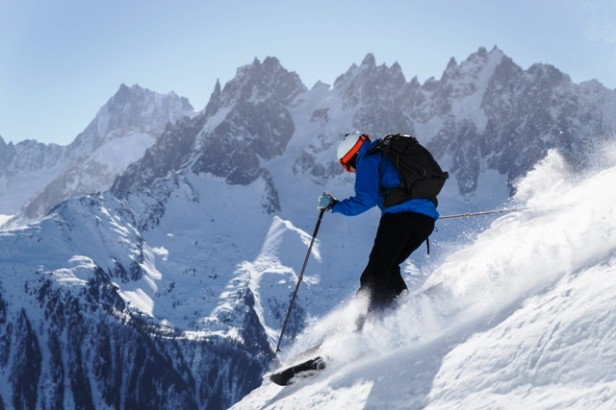 A skier skiing down a mountain in Chamonix