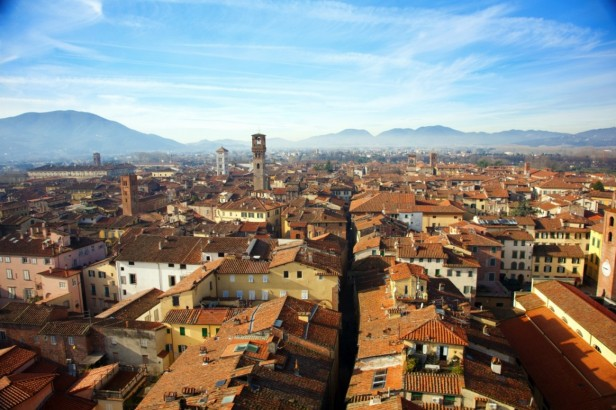Panorama view of Lucca houses and mountains in the background