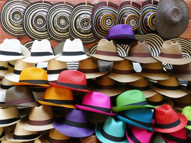 Colourful display of hats for sale in Cartagena, Colombia