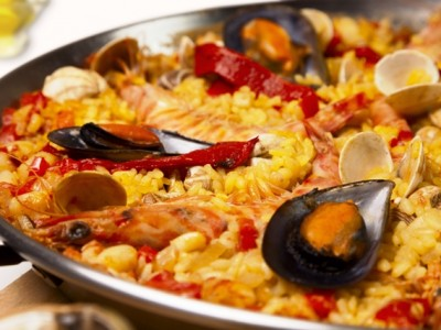 A Valencian speciality dish of paella
