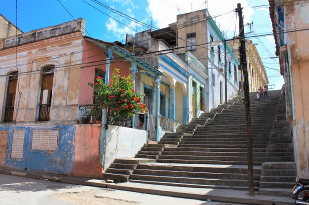 famous Padre Pico steps in Santiago de Cuba alongside colourful colonial houses