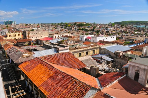 red rooftops of buildings in Santiago de Cuba
