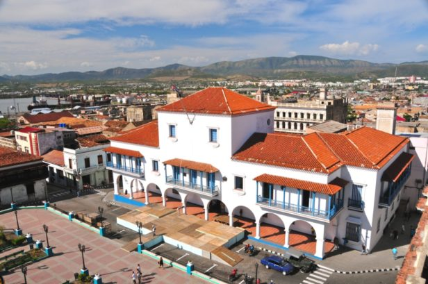 White Town Hall in main square in Santiago de Cuba