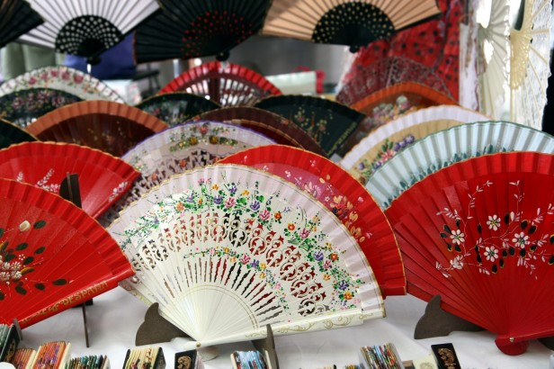 Colourful spanish fans in the rastro market in Madrid