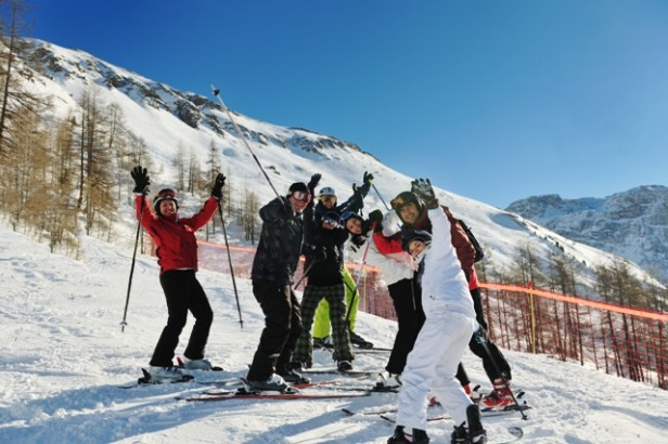 Happy skiers on the slopes in Chamonix