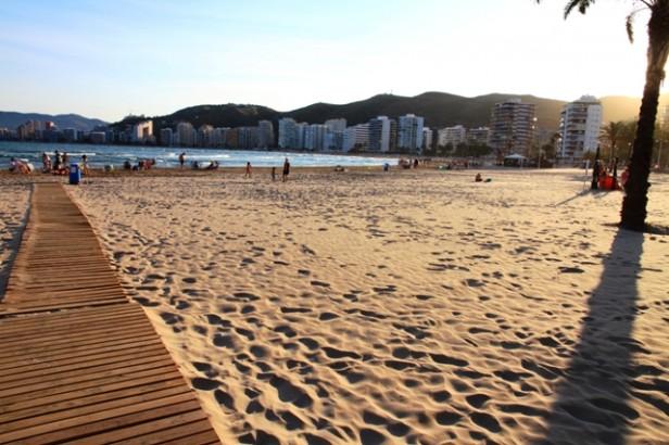 A sunny beach scene in Valencia