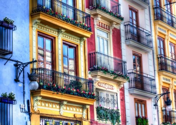 Colourful buildings in Valencia
