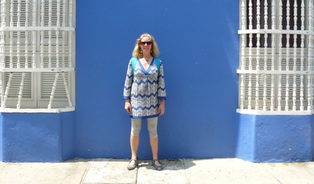Bright blue wall and white shutters, Cartagena, Colombia