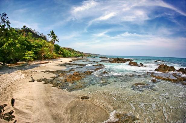 A beach scene in Tayrona national park, Colombia