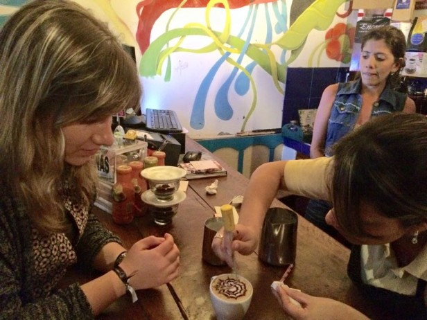 learning coffee art in cafe