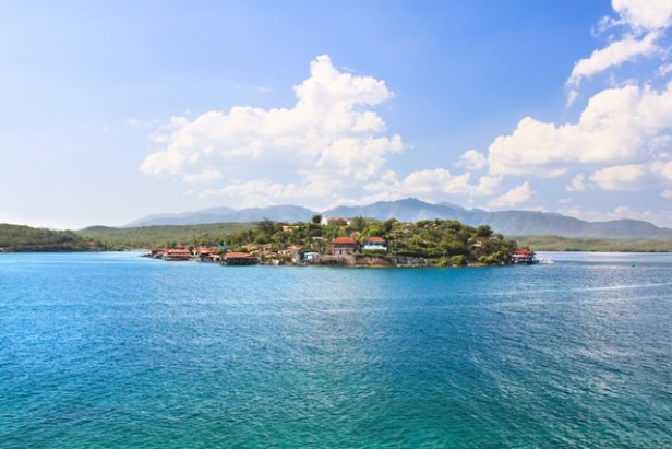 View of small island in Santiago de Cuba bay