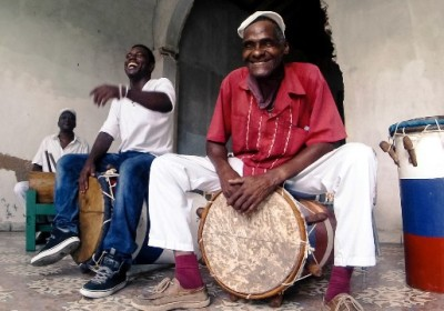 Men playing Cuban folkloric drums