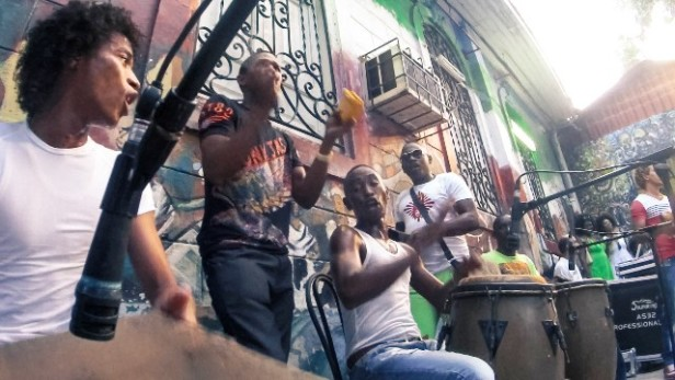 Afrocuban musicians playing in the street
