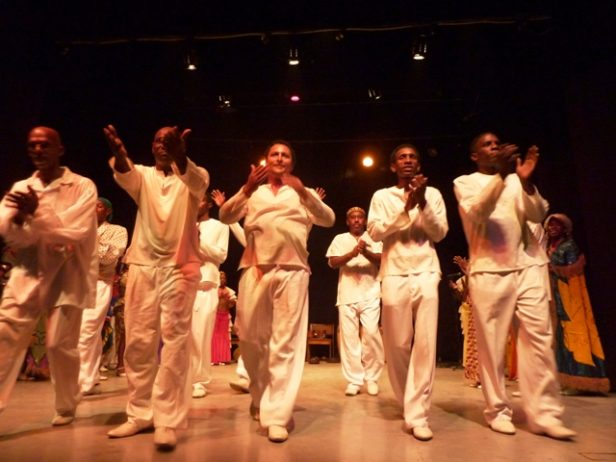 Group of Cuban men in white on stage, Santiago de Cuba