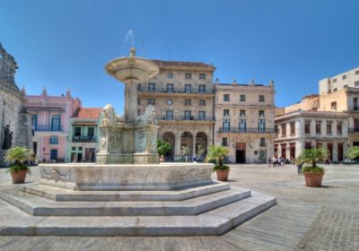 colonial buildings in square, Havana