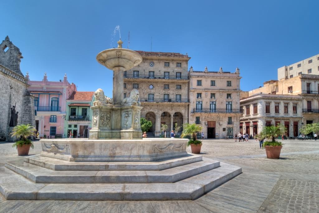colonial buildings in square, Havana
