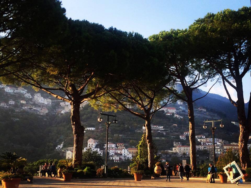 trees and main square in Ravello