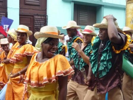 Santiago de Cuba carnival dancers in bright costumes