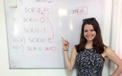 Language student pointing to board of Italian verbs