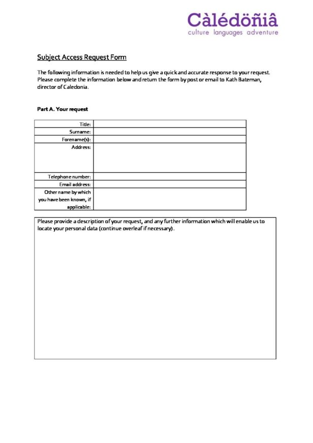 Subject Access Request Form  Caledonia Worldwide