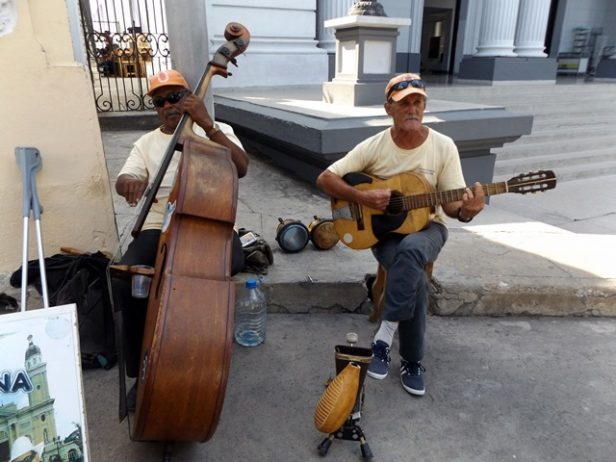Two talented locals in Santiago performing the cello and guitar on the street