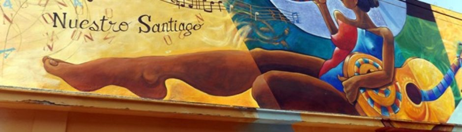 A mural of a woman playing a horn