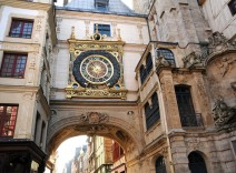 Medieval archway with clock above