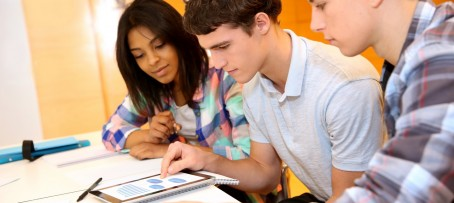 Teenagers in classroom at language school