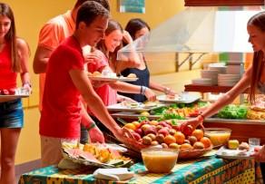 Teens at buffet lunch