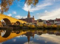 yellow bridge and coloured buildings, regensburg