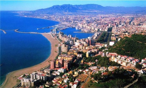 Aerial view of the beach and city, Malaga